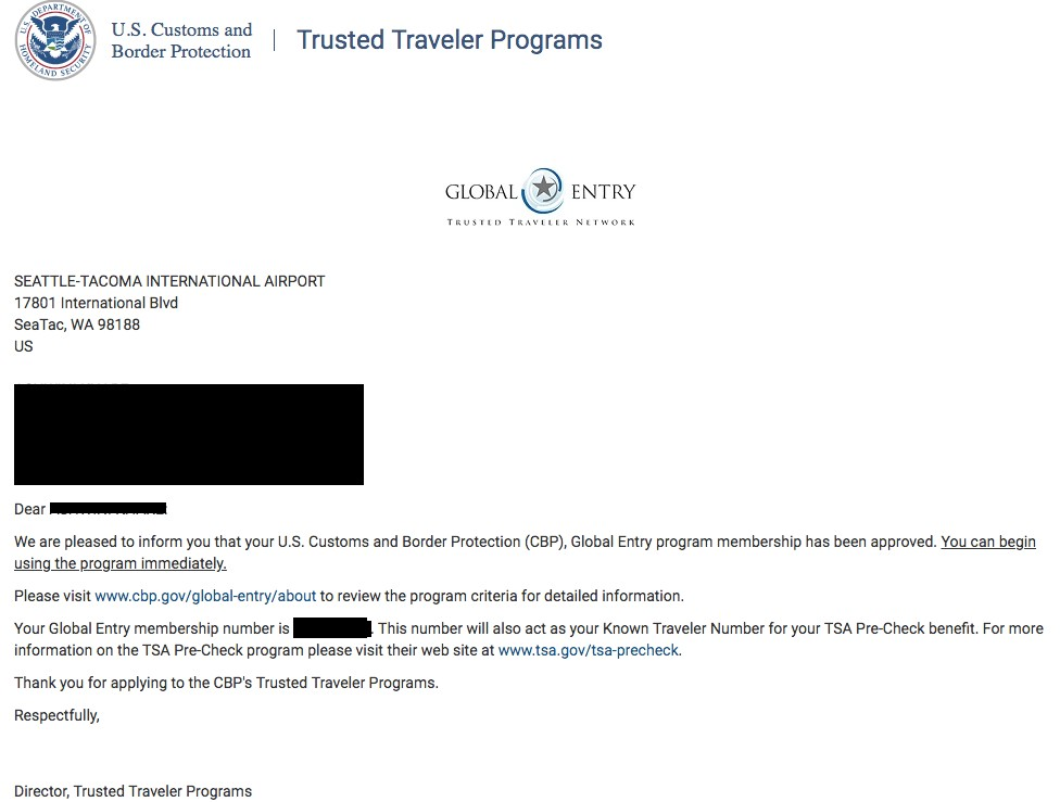 Global Entry Approval Letter